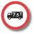 lorry with 7point 5 tonnes sign - showing an environmental limit with red sign - - one of proCAB capabilities to show weight limits - bollards - weak structures - environmental limits for heavy goods vehicles